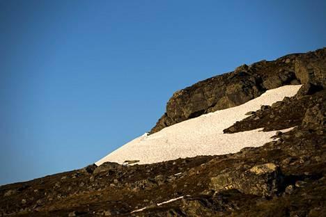 Lunta Saanatunturin pohjoisrinteellä Enontekiön Kilpisjärvellä juhannusviikonloppuna.