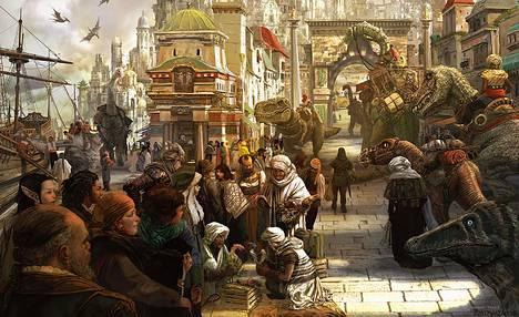 Dungeons & Dragons -roolipelissä seikkailee useita eri lajeja, jotka on lainattu pääosin suoraan fantasiakirjallisuudesta. Kuva on pelikirjasta Tomb of Annihilation, joka sijoittuu fiktiiviselle Chult-nimiselle mantereelle. Chultin kulttuurien kuvausta on pidetty ongelmallisina.