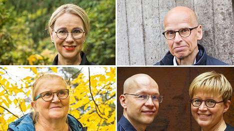 Museojohtaja Susanna Pettersson, entinen kansliapäällikkö Martti Hetemäki, rakennuskonservaattori Tiina Sonninen sekä kirjailija-kuvittajapari Sami Toivonen ja Aino Havukainen.