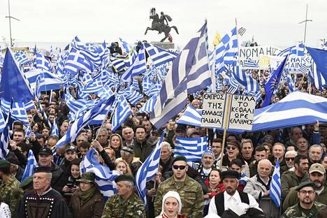 Kreikan Thessalonikissa vastustettiin Makedonia-nimen käyttöä tammikuussa.