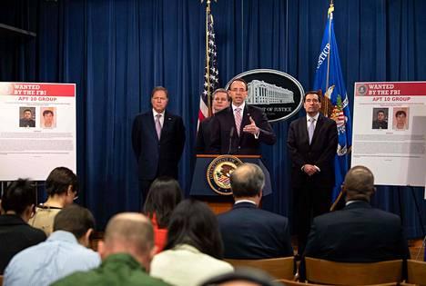 Amerikkalaissyyttäjät kertoivat kiinalaisten hakkeroinnista lehdistötilaisuudessa torstaina Washingtonissa.