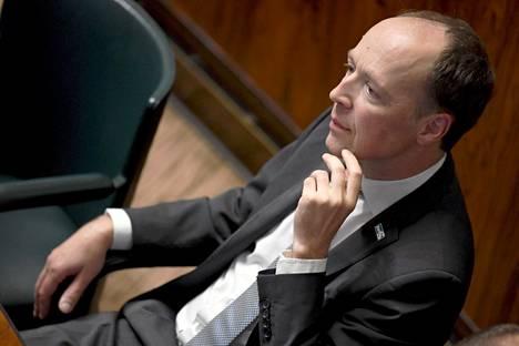 Perussuomalaisten puheenjohtaja Jussi Halla-aho eduskunnan täysistunnossa syyskuussa.