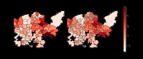 Esimerkki gradussa käytetyn työkalun saamasta tuloksesta. Vasemmalla Helsingin oppilaaksiottoalueet, väri kuvaa vieraskielisten osuutta poikkeamana keskiarvosta. Oikealla ohjelman uusiksi laskemat alueet.