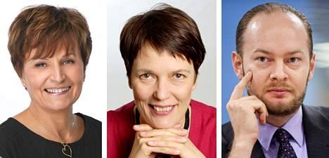 Anneli Jäätteenmäki (kesk), Satu Hassi (vihr) ja Sampo Terho (perus).