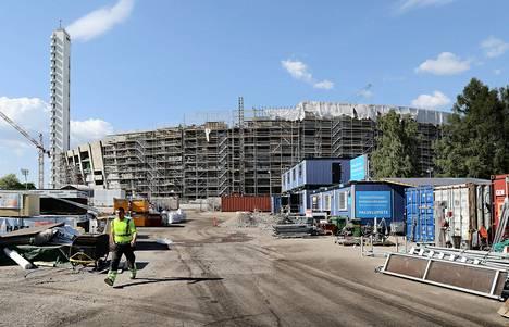 Tältä Olympistadionin remonttityömaalla näytti toukokuussa 2018.