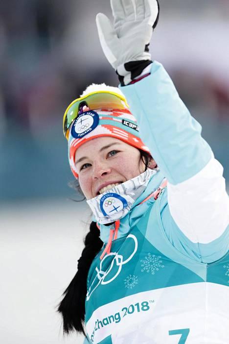 Krista Pärmäkoski on hiihtänyt Etelä-Koreassa kaksi matkaa, pronssia yhdistelmäkisassa ja 9:s sija sprintissä.