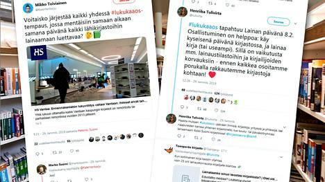 Henriika Tulivirta, Mikko Toiviainen ja Marko Suomi käynnistivät Twitterissä lukukaaos-kampanjan, jossa he yrittävät aktivoida ihmisiä lainaamaan runsaasti kirjoja Lainan päivänä 8. helmikuuta. Ruutukaappaukset Twitteristä.