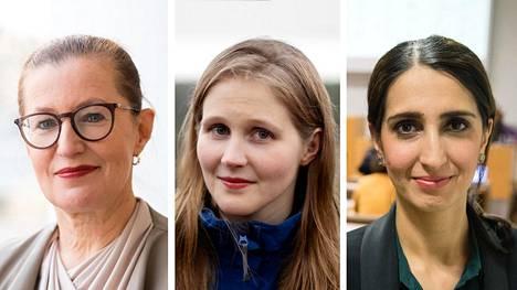 Pia Pakarinen, Reetta Vanhanen ja Nasima Razmyar.