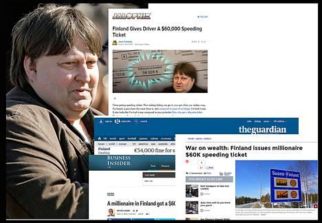 Miljonääri Reima Kuislan suuret ylinopeussakot ovat nousseet uutisaiheeksi maailman lehdissä.