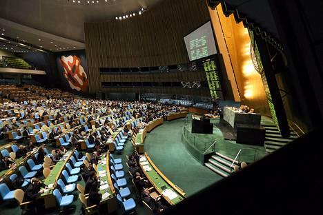 YK:n yleiskokous äänesti keskiviikkona Syyria-päätöslauselmasta.