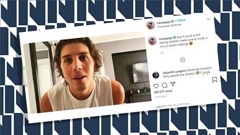 Kuvakaappaus videolta, jonka Lukas Gage jakoi Instagram-tilillään.