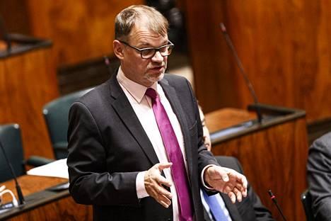 Keskustan Juha Sipilä eduskunnan täysistunnossa Helsingissä 27. helmikuuta 2020.