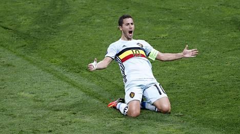 Belgian Eden Hazard oli ottelun hahmo Unkaria vastaan jalkapallon EM-kisoissa 26. kesäkuuta.