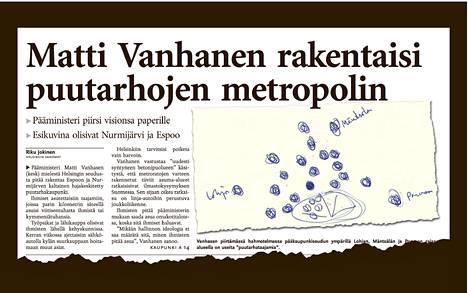 Pääministerinä ollessaan Matti Vanhanen esitteli Helsingin Sanomille visiotaan kehyskuntien rakentamisesta.