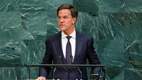 Mark Rutte jatkaa Hollannin pääministerinä. Kuva on YK:n yleiskokouksesta syyskuun lopulta.