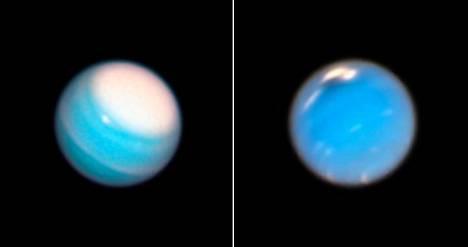 Avaruusteleskooppi Hubble kuvasi viime syksynä isoa myrskyä Uranuksen (vas.) pohjoisnavalla. Neptunukselta (oik.) löytyi uusi tumma myrsky (oik.).