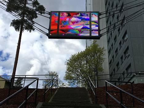 Koivukylässä korkealle ripustetulla ruudulla pyörii kahdeksan eri tekstiä. Kukin teksti näkyy ruudulla vain kerran 50 minuutin videon aikana.