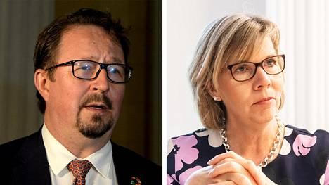 THL:n johtaja Mika Salminen ja oikeusministeri Anna-Maja Henriksson (r).