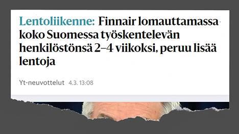 HS kertoi Finnairin lomautuksista 4. maaliskuuta.