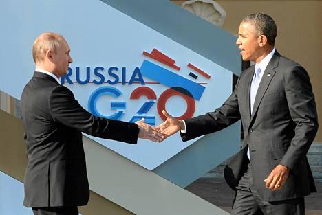 Venäjän presidentti Vladimir Putin toivottaa Barack Obaman tervetulleeksi G20-kokoukseen Pietariin torstaina.