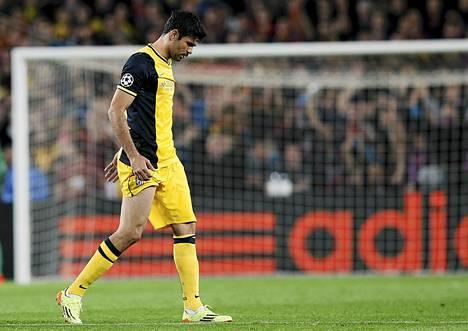 Atlético Madridin Diego Costa ei pysty pelaamaan tämän illan Barcelona-ottelussa.