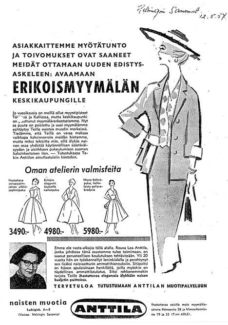 """Helsingin Sanomien ilmoituksessa vuodelta 1957 Anttila mainosti """"oman atelierin"""" leninkejä."""
