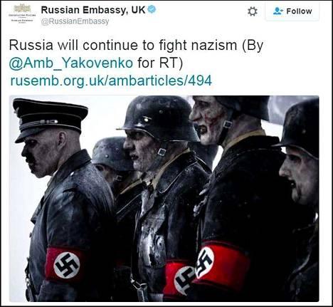 Kuvakaappaus Venäjän Britannian-lähetystön Twitter-tililtä.