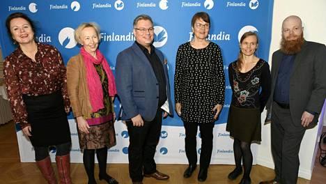 Kaunokirjallisuuden Finlandia-palkinnolle olivat ehdolla Ann-Luise Bertell (vas.), Anne Vuori-Kemilä, Tommi Kinnunen, Ritva Hellsten, Anni Kytömäki ja Heikki Kännö. Palkinnon voitti Anni Kytömäki teoksellaan Margarita.