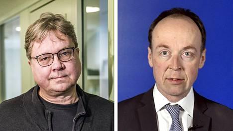 Entinen vihreiden puheenjohtaja Pekka Sauri ja perussuomalaisten puheenjohtaja Jussi Halla-aho.