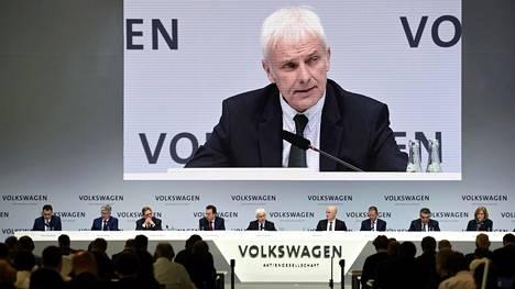 Volkswagenin toimitusjohtaja Matthias Müller puhui vuosittaisessa lehdistötilaisuudessa maaliskuussa.