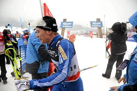 Matti Heikkinen maalialueella Val di Fiemmessa lauantaina.