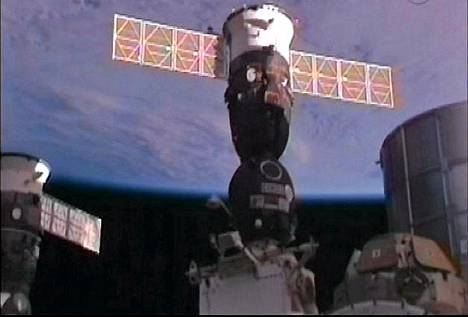 Sojuz telakoitumassa kansainväliseen avaruusasemaan ISS:ään.
