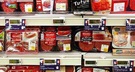 Lihahylly ranskalaisessa supermarketissa Lillessä.