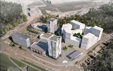 Aviapoliksen aseman eteläisen sisäänkäynnin ympärille suunniteltua rakentamista.