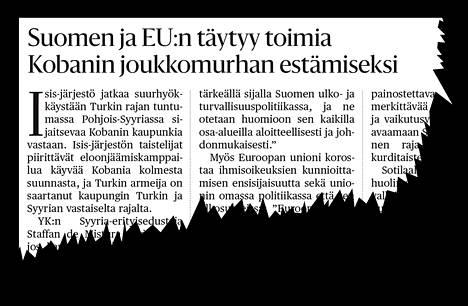 Suomalaiset mielipidevaikuttajat vaativat kirjoituksessaan Suomelta ja EU:lta toimia Kobanin tilanteen ratkaisemiseksi.