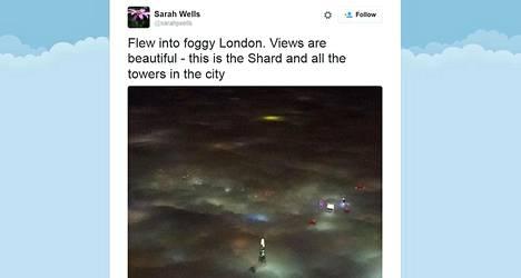 Sarah Wells postasi kuvan sumun peittämästä Lontoosta Twitter-tililleen.