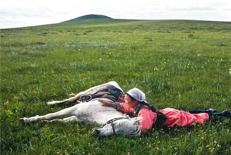 Hevosta koulutetaan miliisin tarpeisiin. Mongolia, 1979.