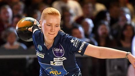 Sanna Pasanen jäi niukasti MM-finaalista mutta sai pronssia. Kuva Ballmaster Openista vuodelta 2017.