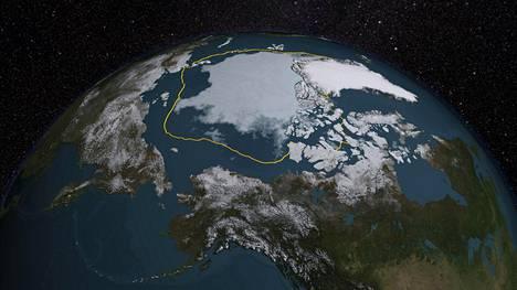 Pohjoisen Jäämeren kesällä mitattu jääpeite oli pienimmillään 2015. Yhdysvaltain avaruushallinnon Nasan kuvassa keltaisella on merkitty jään pinta-ala vuosien 1981–2010 keskiarvona.