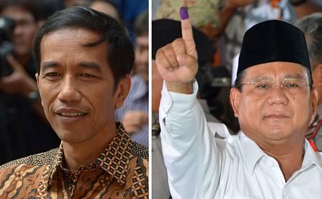 Indonesian presidenttiehdokkaat Joko Widodo (vas.) ja Prabowo Subianto.