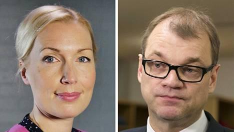 Ylen ajankohtaistoimittaja Salla Vuorikoski ja pääministeri Juha Sipilä.