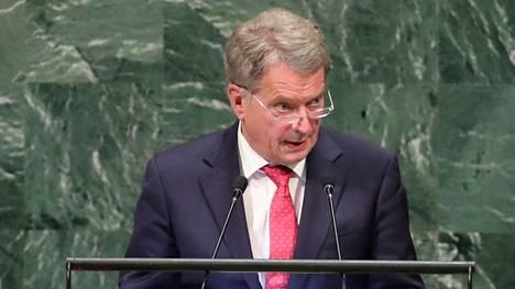 Presidentti Sauli Niinistö puhui YK:n yleiskokouksessa myös vuonna 2018.