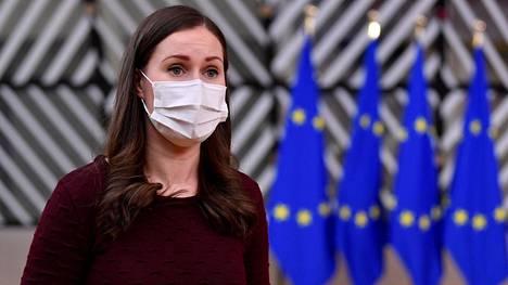 Pääministeri Sanna Marin saapui Brysseliin torstaina.