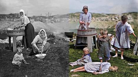 Pyykinpesijöitä Leppäsuolla vuonna 1907. Puolet kuvasta väritetty Deoldify-algoritmin avulla.