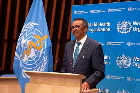 WHO:n pääjohtaja Tedros Adhanom Ghebreyesus puhui Maailman terveysjärjestön yleiskokouksessa Genevessä maanantaina.