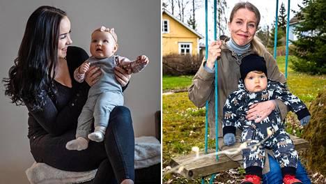 Julianna Reinamo (vas.) viettää 19-vuotiaana ensimmäistä äitienpäiväänsä. Isla Reinamo on nyt puolivuotias. Hanna Kangasniemi-Paatelma toivoi lasta pitkään. Hän oli 44-vuotias, kun Touko Paatelma syntyi  vuosi sitten.
