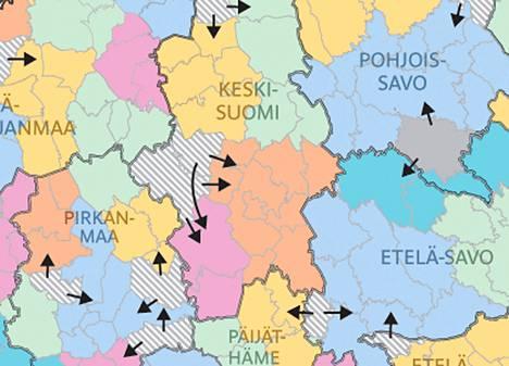 Kunnat Yhdistetaan Yli Maakuntarajojen Ndash Katso Kartta