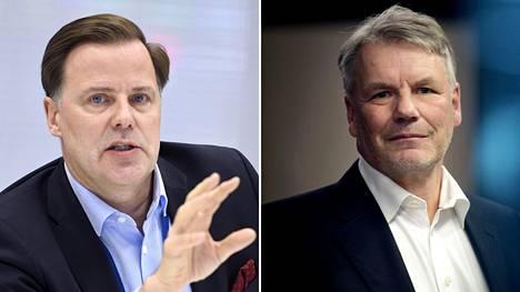 Veikkauksen toimitusjohtaja Olli Sarekoski (vas.) ja hallituksen puheenjohtaja Olli-Pekka Kallasvuo.