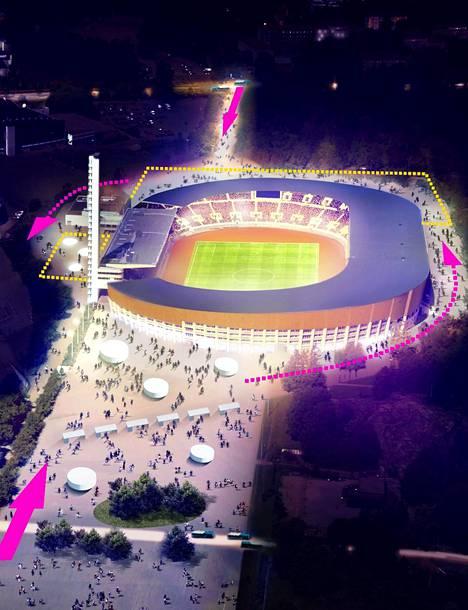 Suunnittelijoiden havainnekuvassa nuolet kuvaavat saapumissuuntia Olympiastadionin alueelle. Stadionin ympäri pääsisi nykyistä paremmin kulkemaan, kun monia toimintoja viedään maan alle.
