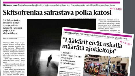 Helsingin Sanomat on elokuun aikana käsitellyt mielenterveysasioita jutuissaan.
